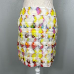 Ann Taylor    Watercolor Print Tiered Skirt